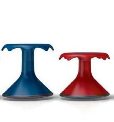 small wobbly stools red and blue